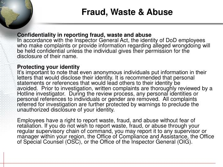 Confidentiality in reporting fraud, waste and abuse