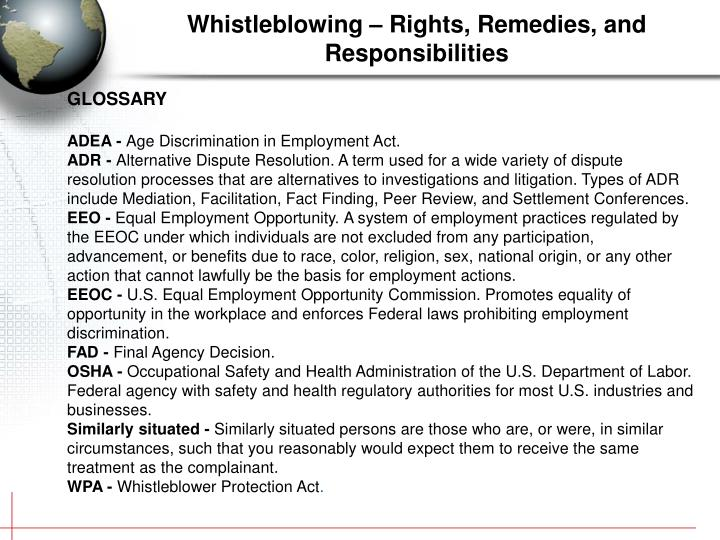Whistleblowing – Rights, Remedies, and Responsibilities