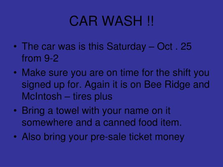 CAR WASH !!