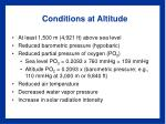 conditions at altitude