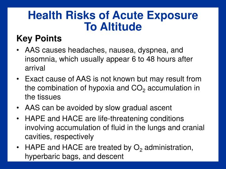 Health Risks of Acute Exposure