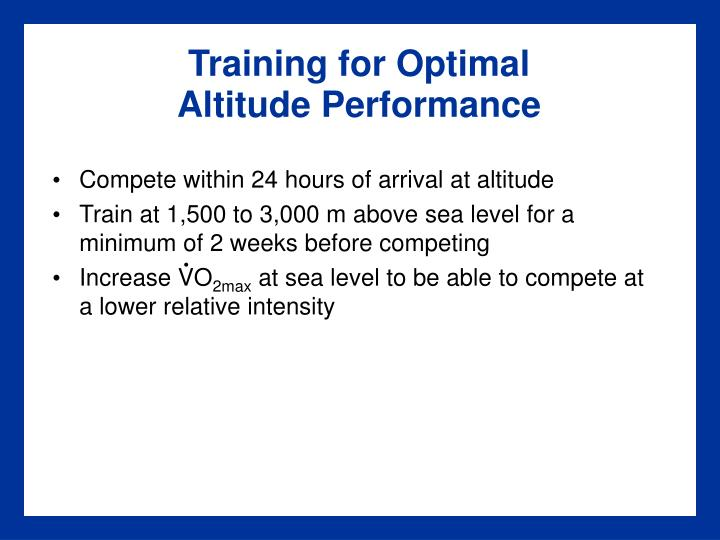 Training for Optimal