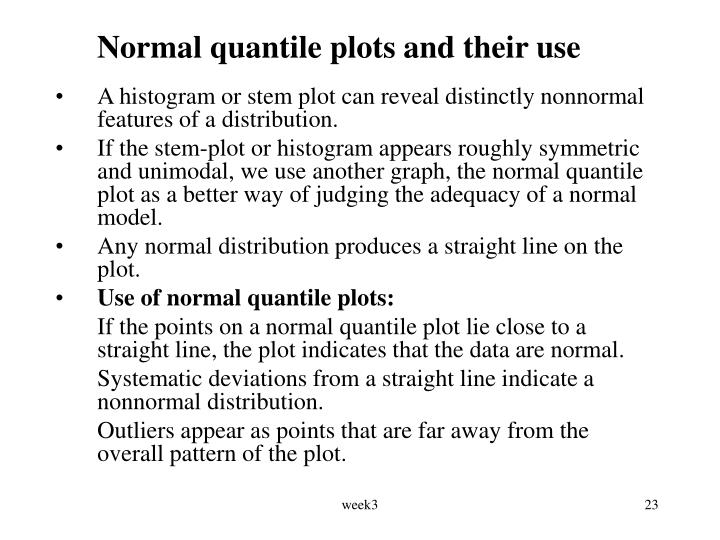 Normal quantile plots and their use