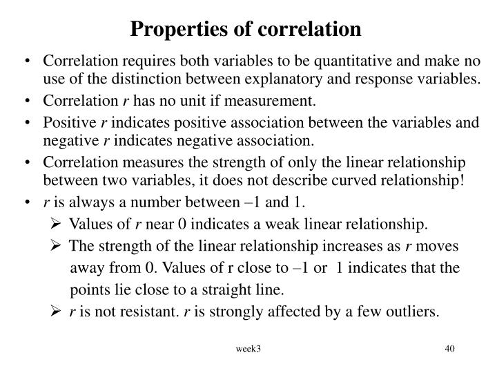 Properties of correlation