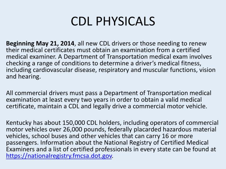 CDL PHYSICALS