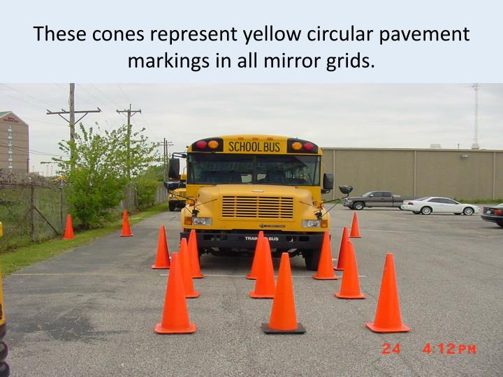 These cones represent yellow circular pavement markings in all mirror grids.