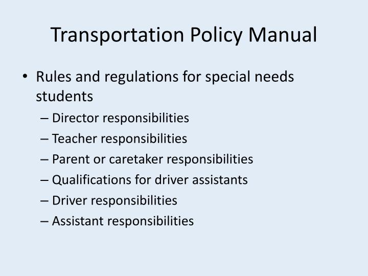 Transportation Policy Manual