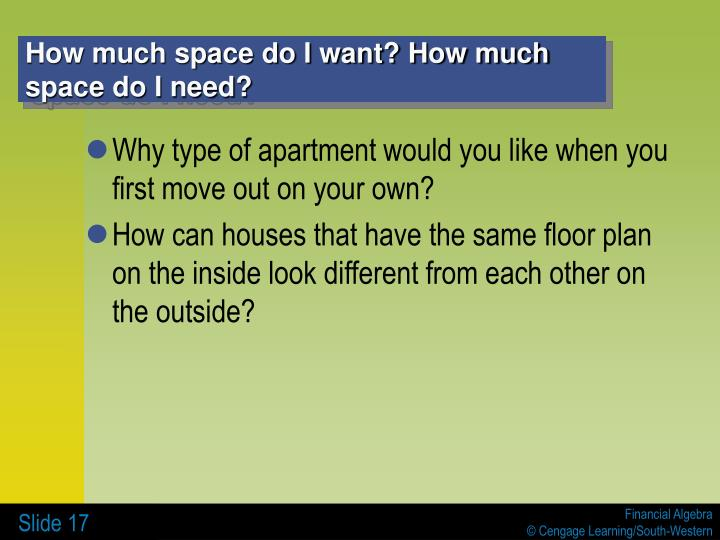 How much space do I want? How much space do I need?
