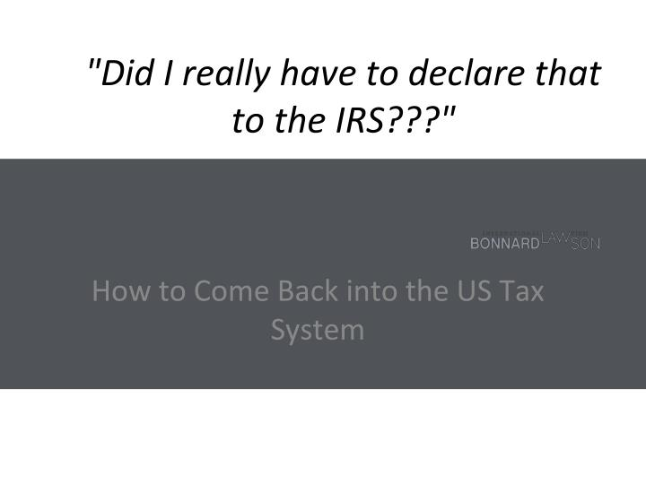 Did i really have to declare that to the irs1