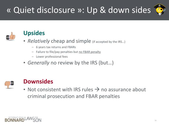 « Quiet disclosure »: Up & down sides