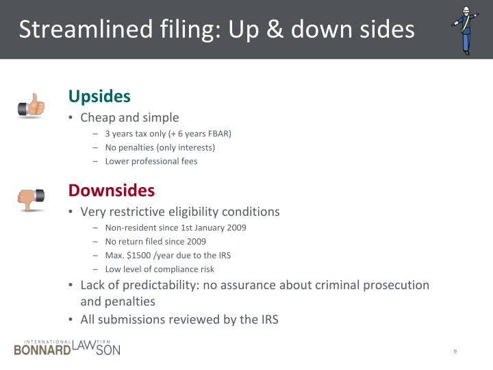 Streamlined filing: Up & down sides