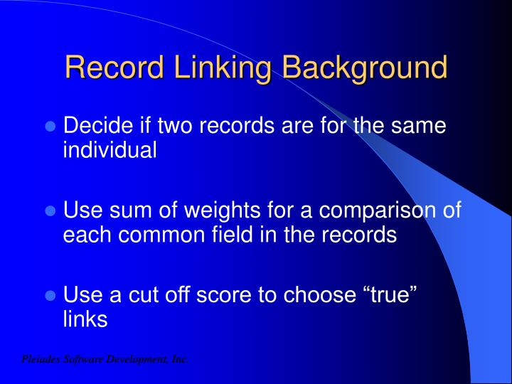 Record Linking Background