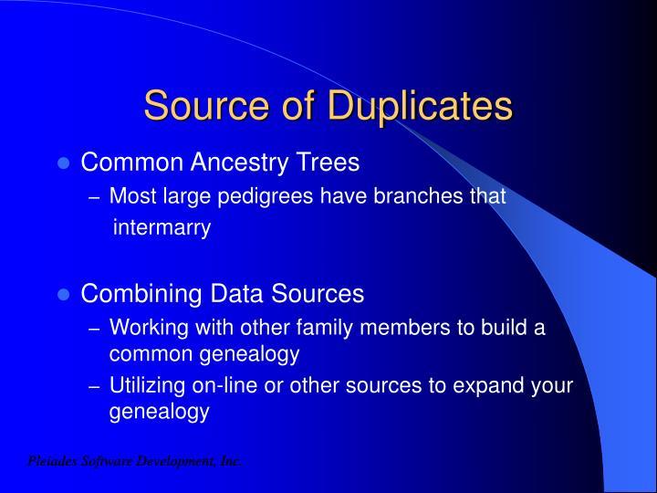 Source of Duplicates