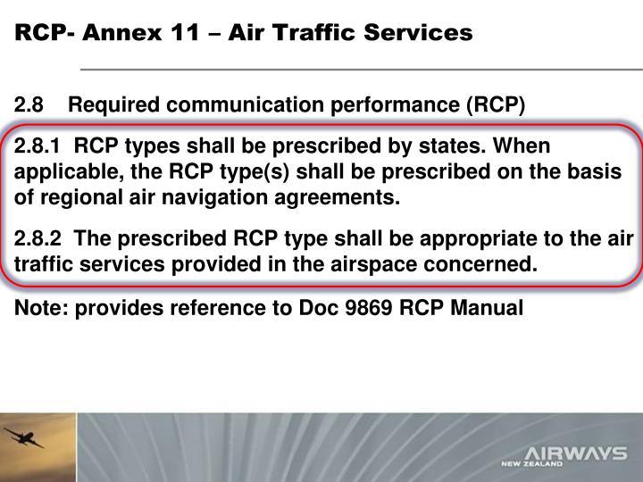RCP- Annex 11