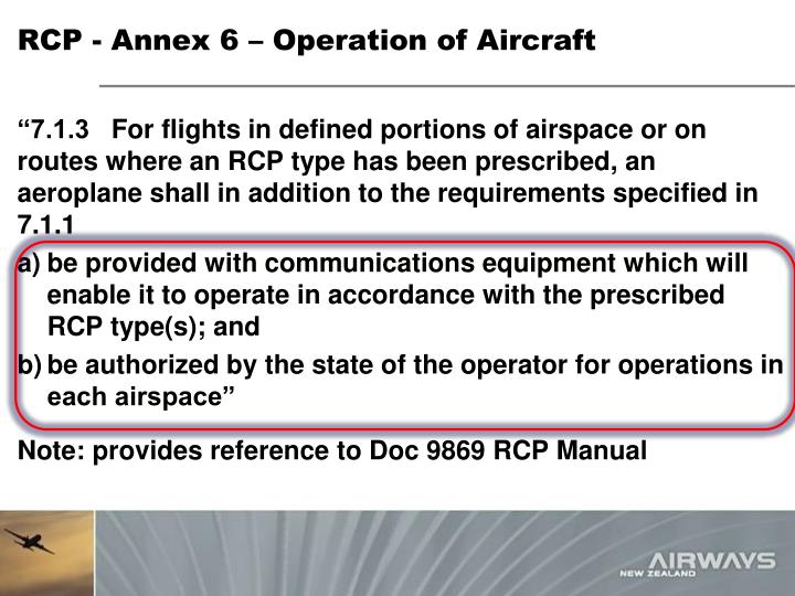Rcp annex 6 operation of aircraft