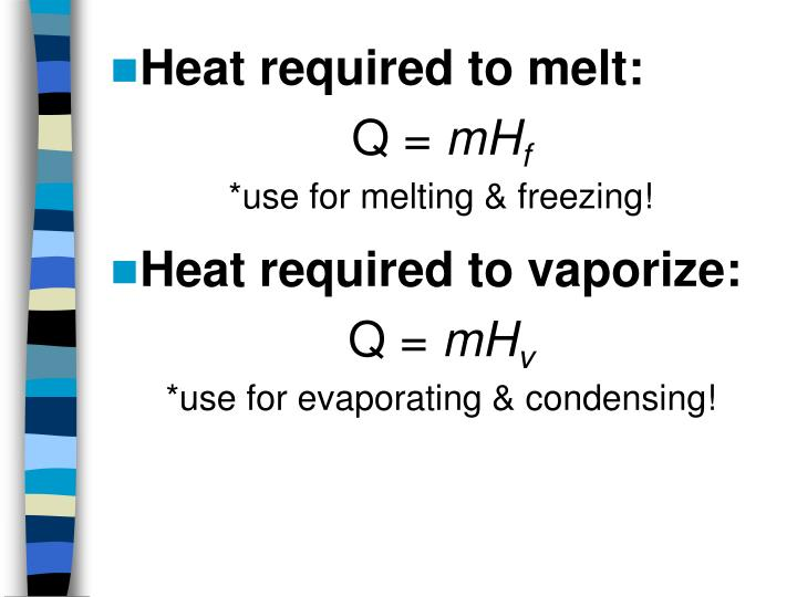 Heat required to melt: