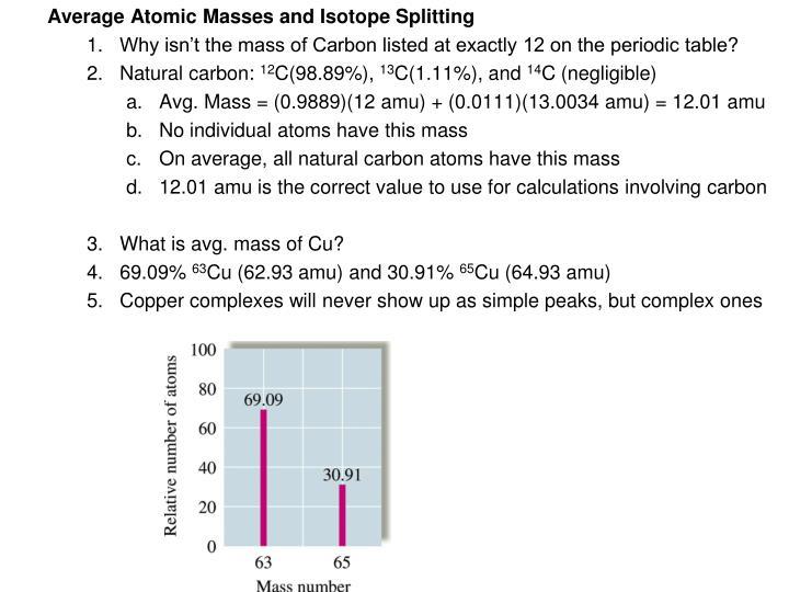 Average Atomic Masses and Isotope Splitting