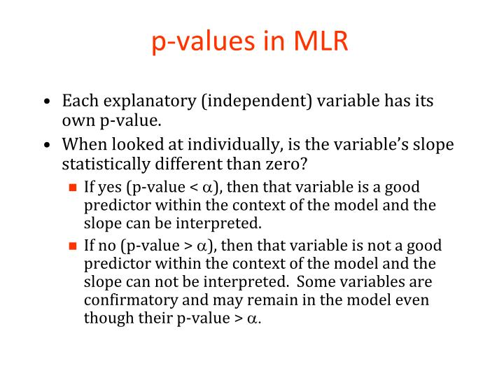 p-values in MLR