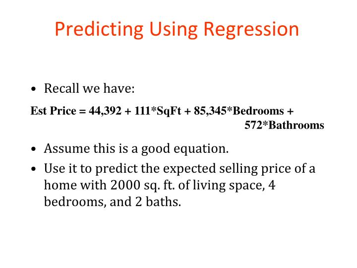 Predicting Using Regression