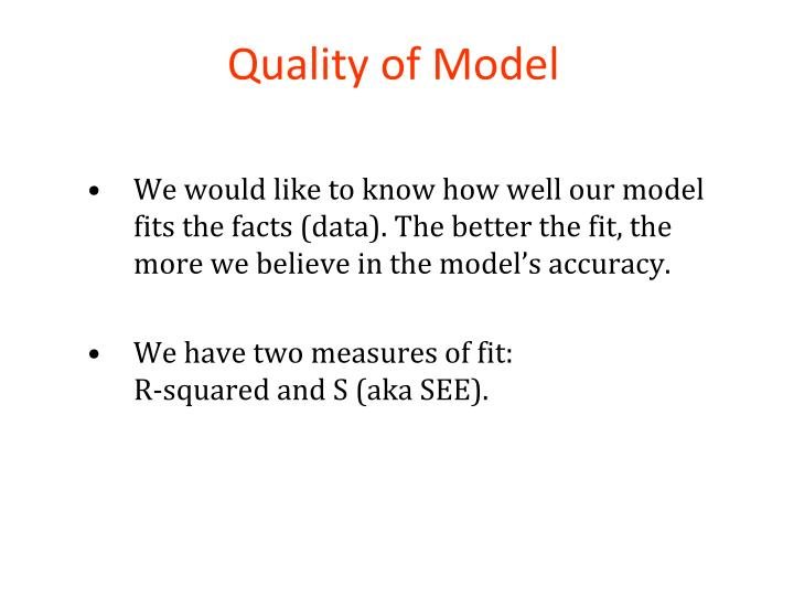 Quality of Model