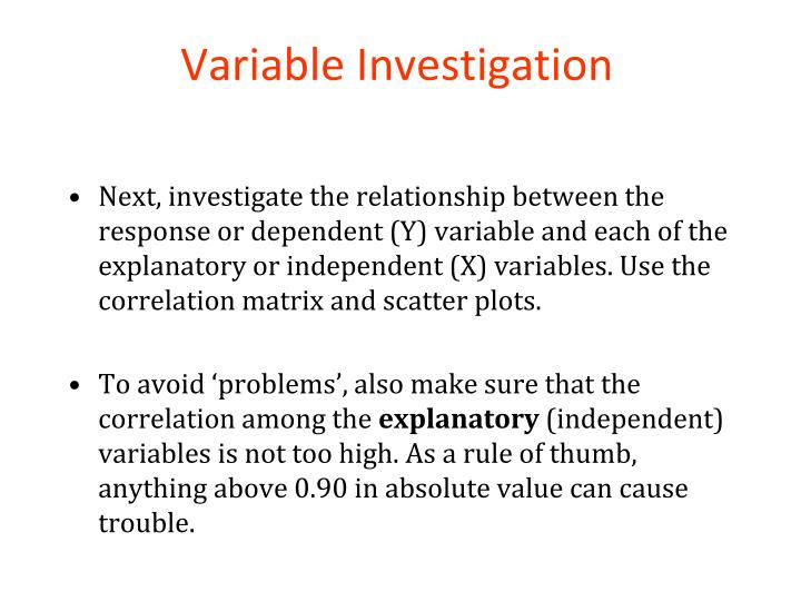 Variable Investigation