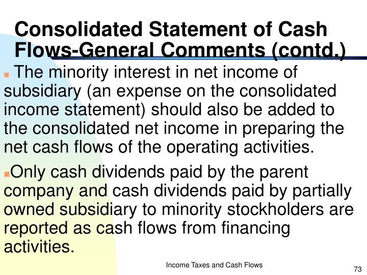 Consolidated Statement of Cash Flows-General Comments (contd.)