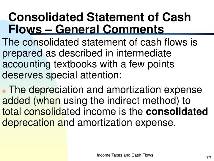 Consolidated Statement of Cash Flows – General Comments