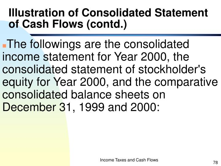Illustration of Consolidated Statement of Cash Flows (contd.)