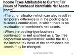 income taxes attributable to current fair values of purchased identifiable net assets contd