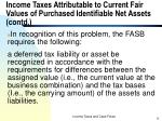 income taxes attributable to current fair values of purchased identifiable net assets contd1