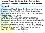 income taxes attributable to current fair values of purchased identifiable net assets contd10