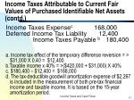 income taxes attributable to current fair values of purchased identifiable net assets contd11