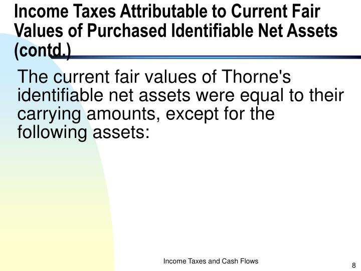 Income Taxes Attributable to Current Fair Values of Purchased Identifiable Net Assets (contd.)