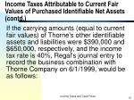 income taxes attributable to current fair values of purchased identifiable net assets contd5