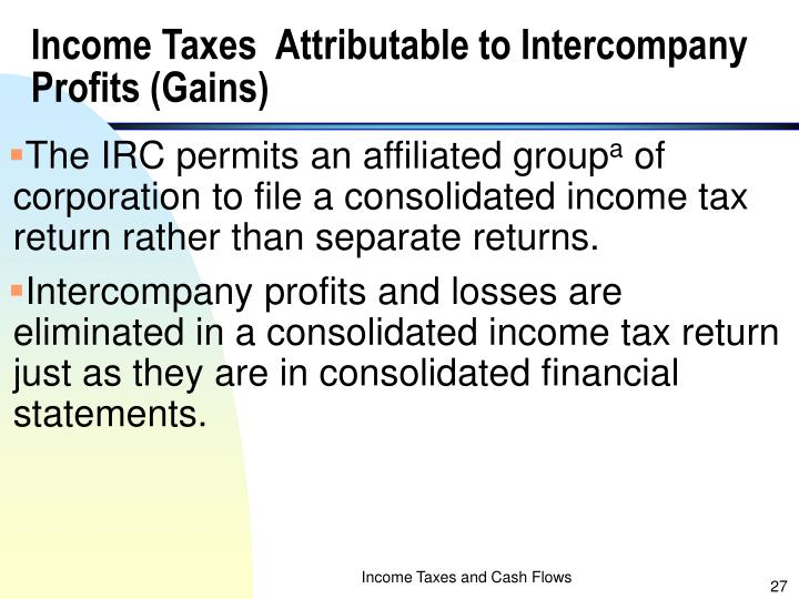 Income Taxes  Attributable to Intercompany Profits (Gains)