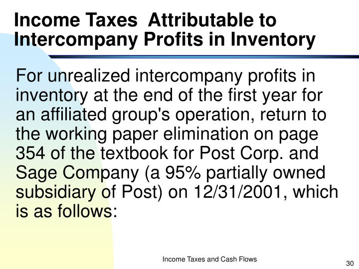 Income Taxes  Attributable to Intercompany Profits in Inventory
