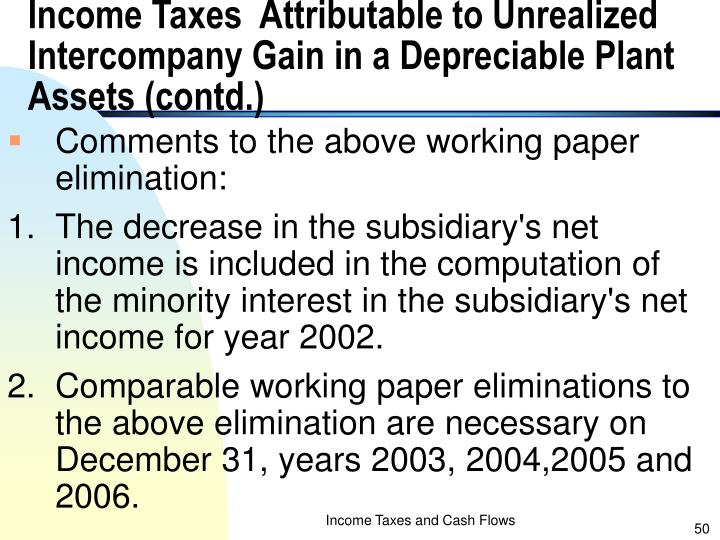 Income Taxes  Attributable to Unrealized Intercompany Gain in a Depreciable Plant Assets (contd.)