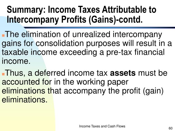 Summary: Income Taxes Attributable to Intercompany Profits (Gains)-contd.
