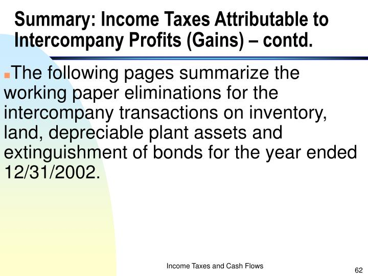 Summary: Income Taxes Attributable to Intercompany Profits (Gains) – contd.