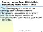 summary income taxes attributable to intercompany profits gains contd2