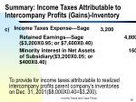 summary income taxes attributable to intercompany profits gains inventory2