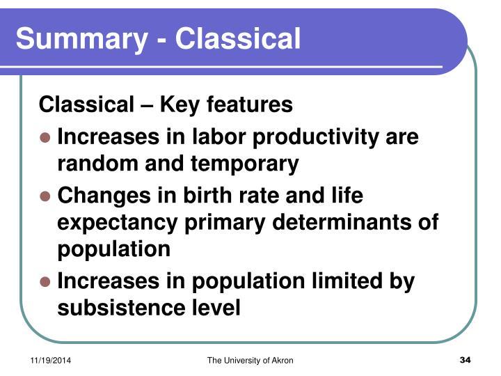 Summary - Classical