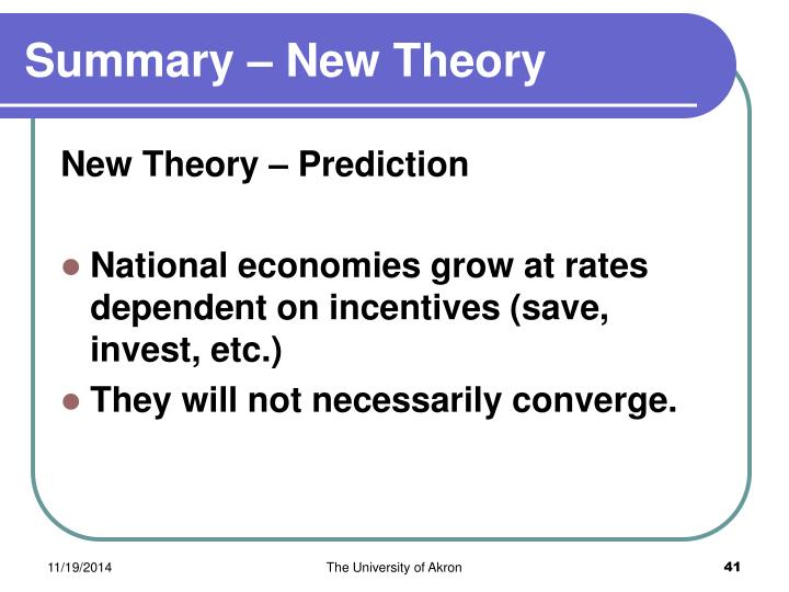 Summary – New Theory
