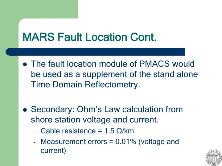 MARS Fault Location Cont.