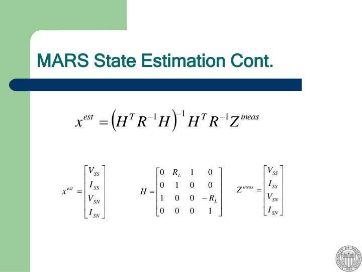 MARS State Estimation Cont.