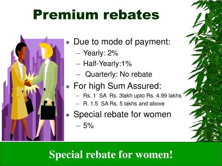 Premium rebates