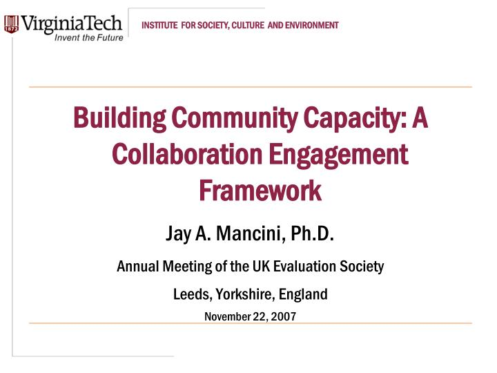 capacity building in community engagement and