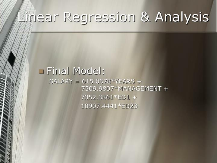 Linear Regression & Analysis