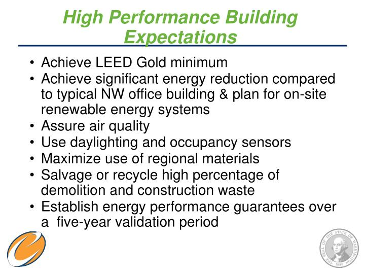 High Performance Building Expectations