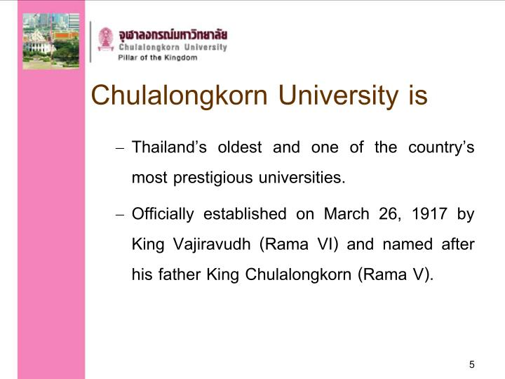 Chulalongkorn University is